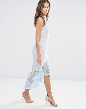 photo Cami Strap All Over Lace Dress Midi with Fishtail Detail by Jarlo Tall, color Soft Blue - Image 2