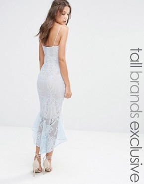photo Cami Strap All Over Lace Dress Midi with Fishtail Detail by Jarlo Tall, color Soft Blue - Image 1