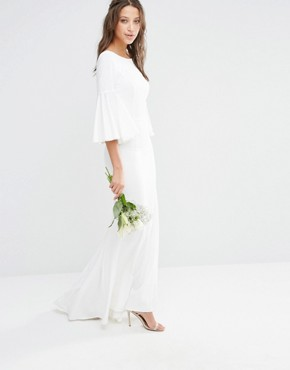 photo Maxi Dress with Bell Sleeve and Button Back Detail by Jarlo Tall, color White - Image 2