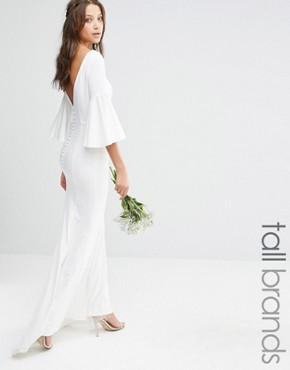 photo Maxi Dress with Bell Sleeve and Button Back Detail by Jarlo Tall, color White - Image 1