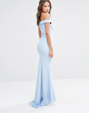 photo Off The Shoulder Detail Maxi Dress by Jarlo Tall, color Soft Blue - Image 2