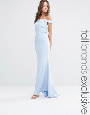 photo Off The Shoulder Detail Maxi Dress by Jarlo Tall, color Soft Blue - Image 1