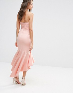 photo Bandeau Cutout Midi Dress with Fishtail Detail by Jarlo Tall, color Nude - Image 2