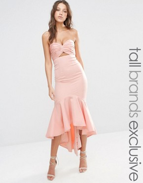 photo Bandeau Cutout Midi Dress with Fishtail Detail by Jarlo Tall, color Nude - Image 1