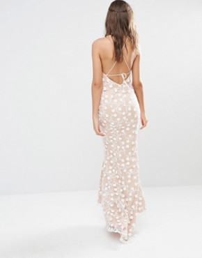 photo Halter Maxi Dress with Strapy Back Detail in All Over Pretty Lace by Jarlo Tall, color Nude - Image 2