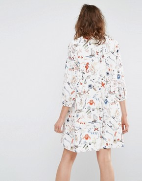photo Miaga Longsleeve Printed Dress by Essentiel Antwerp, color Off White - Image 2
