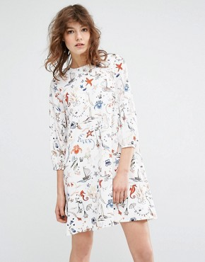 photo Miaga Longsleeve Printed Dress by Essentiel Antwerp, color Off White - Image 1