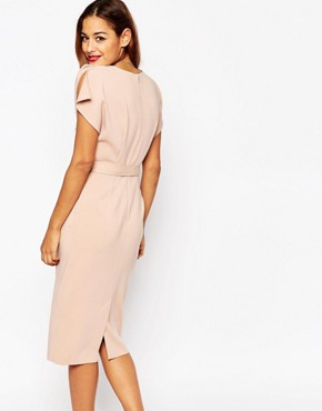 photo Belted Midi Dress with Split Cap Sleeve and Pencil Skirt by ASOS, color Pink - Image 2