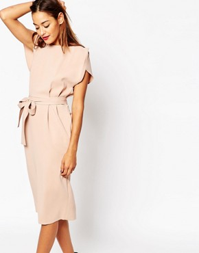 photo Belted Midi Dress with Split Cap Sleeve and Pencil Skirt by ASOS, color Pink - Image 1
