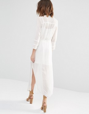 photo Embroidered Shirt Dress by Warehouse Premium, color Cream - Image 2
