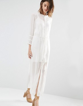 photo Embroidered Shirt Dress by Warehouse Premium, color Cream - Image 1