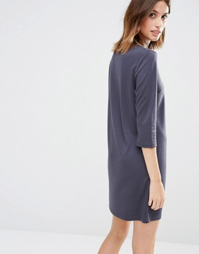 photo Lace High Neck Shift Dress by Vila, color Charcoal - Image 2