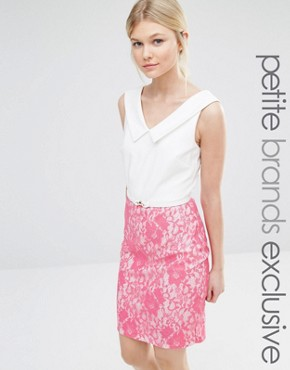photo V Neck Pencil Dress with Contrast Lace Skirt Detail by Paper Dolls Petite, color Pink - Image 1