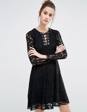 photo Oronte Lace Swing Dress by Sportmax Code, color Black - Image 1