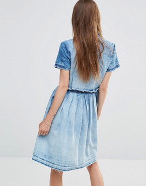 photo Denim Dress with Embroidery by Diesel, color Blue - Image 2