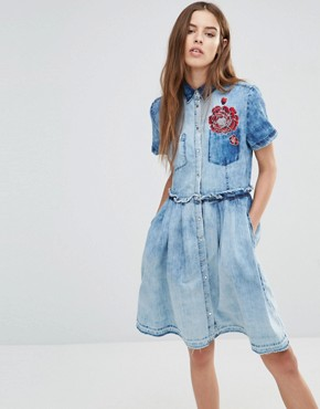 photo Denim Dress with Embroidery by Diesel, color Blue - Image 1