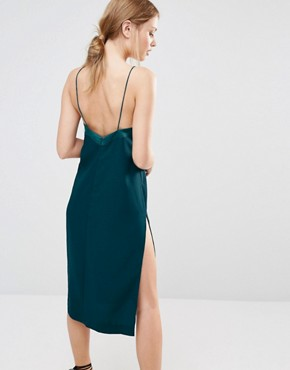 photo Slip Dress with Lace Up by Finders Keepers, color Petrol - Image 2