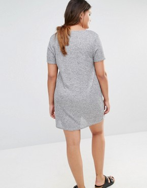 photo Metallic T-Shirt Dress by Missguided Plus, color Grey - Image 2