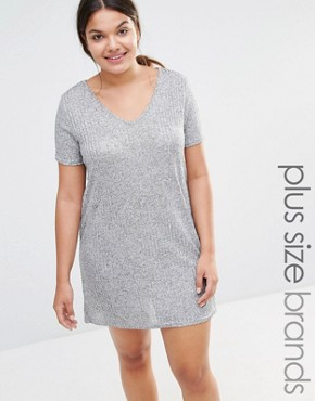 photo Metallic T-Shirt Dress by Missguided Plus, color Grey - Image 1