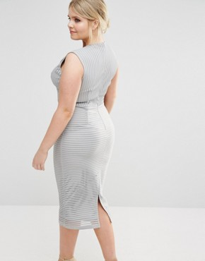 photo Ribbed Plunge Midi Dress by Missguided Plus, color Grey - Image 2