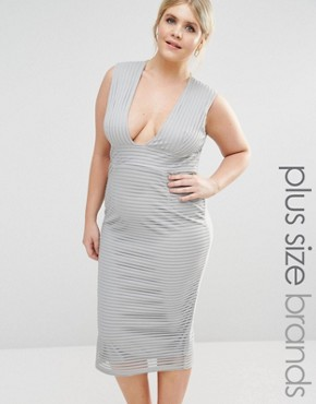 photo Ribbed Plunge Midi Dress by Missguided Plus, color Grey - Image 1