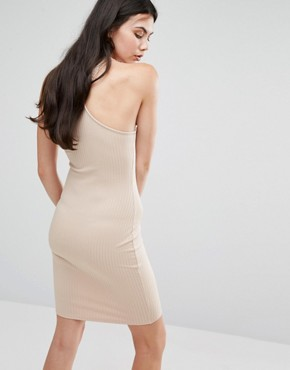 photo Neck Detail Ribbed Bodycon Dress by Missguided Tall, color Camel - Image 2