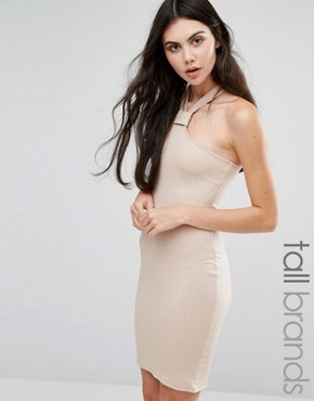 photo Neck Detail Ribbed Bodycon Dress by Missguided Tall, color Camel - Image 1