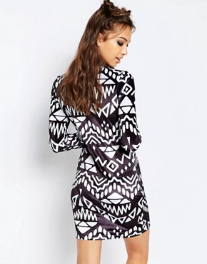 photo Monochrome Dress by Jaded London, color Black White - Image 2