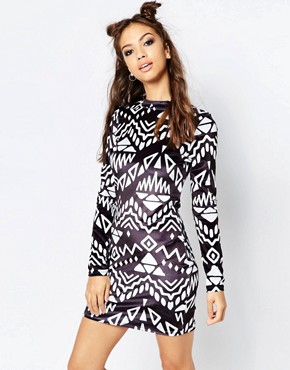 photo Monochrome Dress by Jaded London, color Black White - Image 1