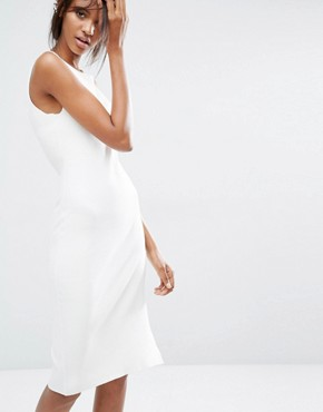 photo Knitted Midi Dress with Keyhole Back Detail by Noisy May Tall, color White - Image 2