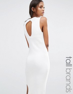 photo Knitted Midi Dress with Keyhole Back Detail by Noisy May Tall, color White - Image 1