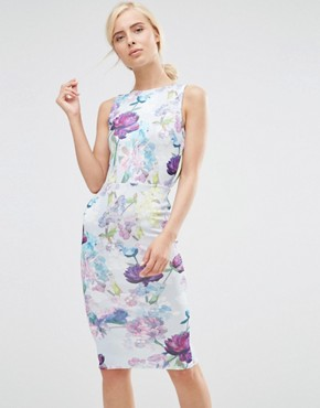photo Pencil Dress with Open Back in Garden Floral Print by Hope and Ivy, color Blue - Image 2