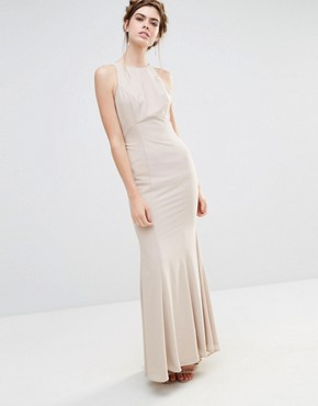 photo Wedding Maxi Dress with Fishtail and Ruffles at Back by Jarlo, color Silver Grey - Image 2