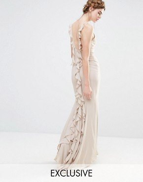 photo Wedding Maxi Dress with Fishtail and Ruffles at Back by Jarlo, color Silver Grey - Image 1