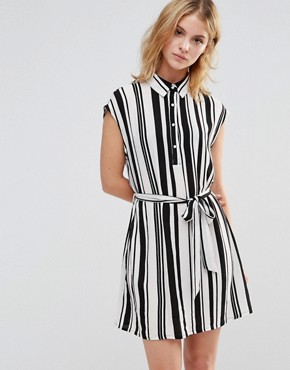 photo Shirt Dress in Stripe by Style London, color Black/White - Image 1