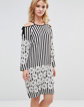 photo Dress with Tie Shoulder in Floral Stripe Print by Style London, color Black/White - Image 1