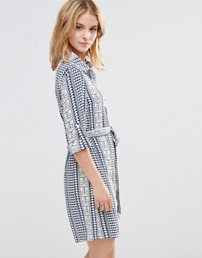 photo Shirt Dress in Geo Print by Style London, color Blue - Image 1