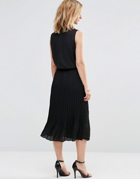 photo Midi Shirt Dress with Pleated Skirt by Style London, color Black - Image 2