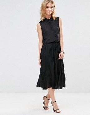 photo Midi Shirt Dress with Pleated Skirt by Style London, color Black - Image 1