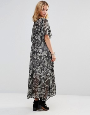 photo Maxi Dress with Lace Up Top in Paisley Print by Style London, color Black - Image 2