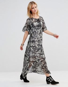 photo Maxi Dress with Lace Up Top in Paisley Print by Style London, color Black - Image 1