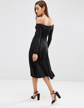 photo Long Sleeve Bardot Midi Pleated Dress by ASOS, color Black - Image 2