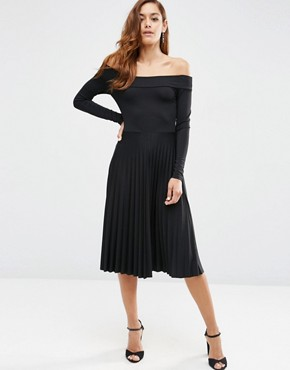 photo Long Sleeve Bardot Midi Pleated Dress by ASOS, color Black - Image 1