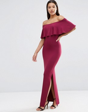 Ruffle Off Shoulder Bardot Maxi Dress By Asos Oxblood