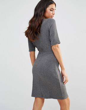photo Sonya Quilted Jersey Shift Dress by Poppy Lux, color Grey Marl - Image 2