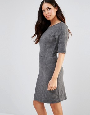 photo Sonya Quilted Jersey Shift Dress by Poppy Lux, color Grey Marl - Image 1
