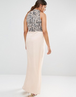 photo Heavily Embellished Bodice Maxi Dress with High Neck and Thigh Split Detail by Lovedrobe Luxe, color Pink - Image 2