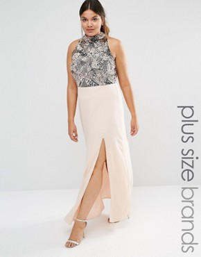 photo Heavily Embellished Bodice Maxi Dress with High Neck and Thigh Split Detail by Lovedrobe Luxe, color Pink - Image 1