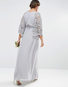 photo Wrap Front Pleated Maxi Dress with Lace Sleeve by Lovedrobe Luxe, color Grey - Image 2