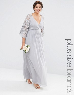 photo Wrap Front Pleated Maxi Dress with Lace Sleeve by Lovedrobe Luxe, color Grey - Image 1